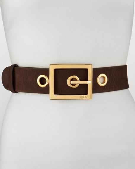 Non G-Adjustable Suede Belt, Brown