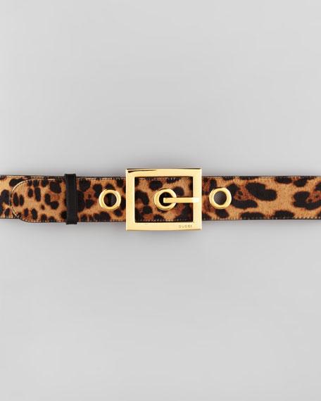 Leopard-Print Calf Hair Wide Belt