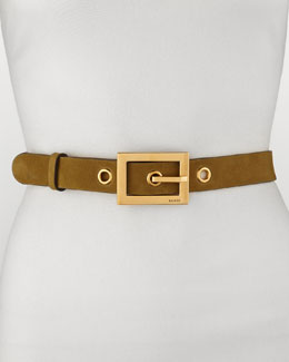 Gucci Non G-Adjustable Suede Belt, Olive