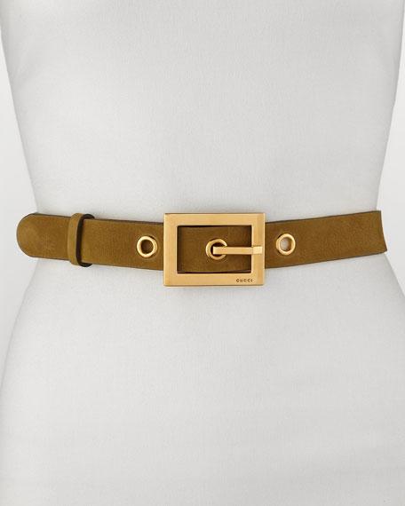 Non G-Adjustable Suede Belt, Olive