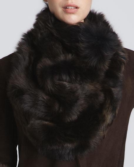 Shearling Cowl Bib Collar, Chestnut