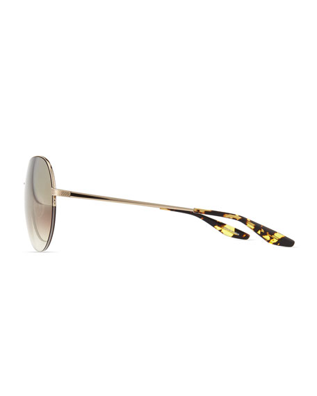 Colby Semi-Rimless Round Sunglasses, Golden