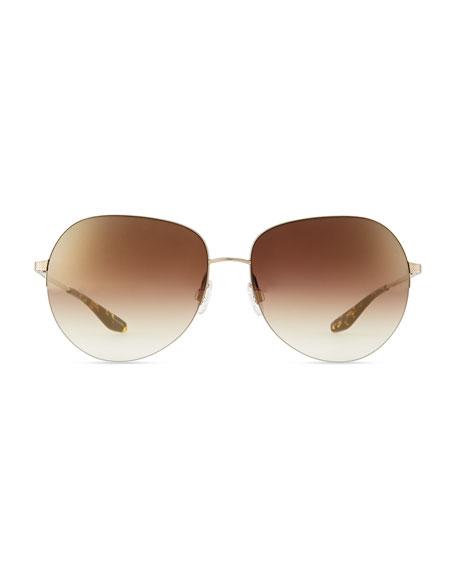 Colby Semi-Rimless Round Sunglasses, Rose Golden