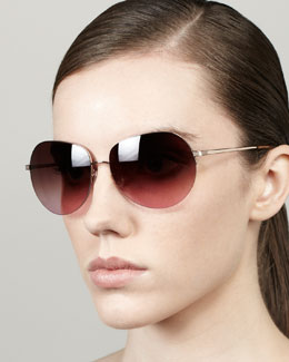 Barton Perreira Colby Semi-Rimless Round Sunglasses, Rose Golden