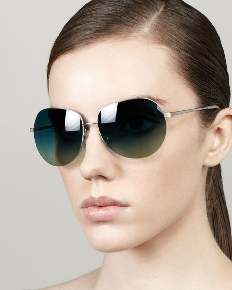 Colby Semi-Rimless Round Sunglasses, Silvertone