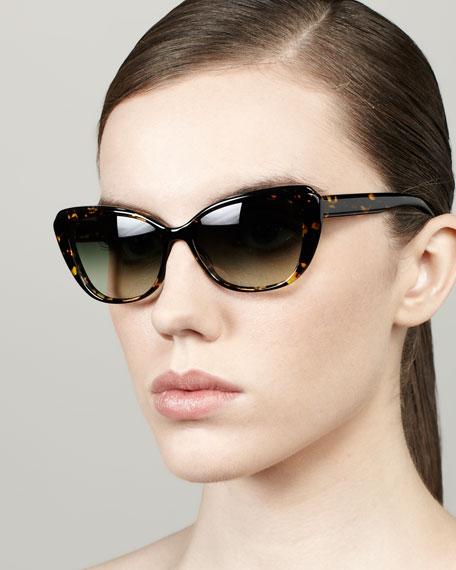 Javotte Beveled Cat-Eye Sunglasses, Dark Tortoise/Green