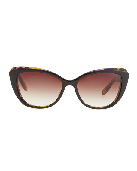 Javotte Beveled Cat-Eye Sunglasses, Dark Tortoise/Red