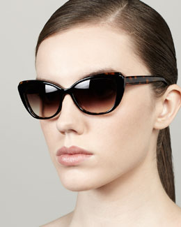 Barton Perreira Javotte Beveled Cat-Eye Sunglasses, Dark Tortoise/Red