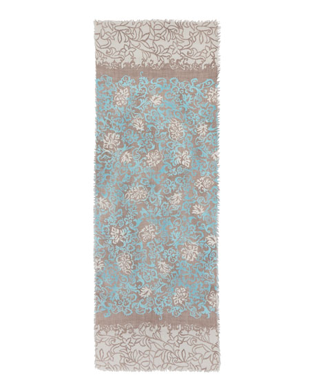 Unique Meknes Cashmere Scarf, Blue/Tan