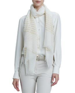 Loro Piana Nocturne Striped Shimmer Stole, White/Gold