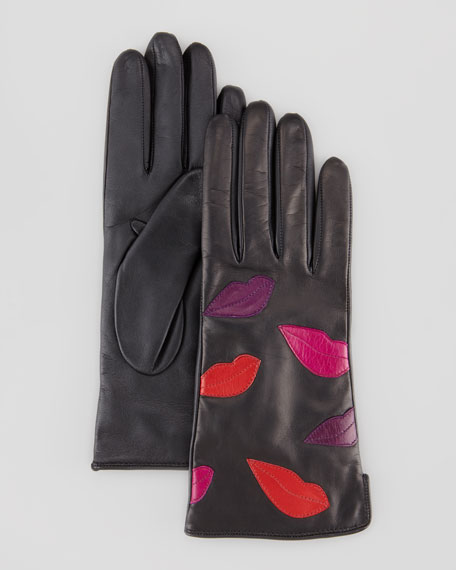 Leather Lips Gloves, Black Multi