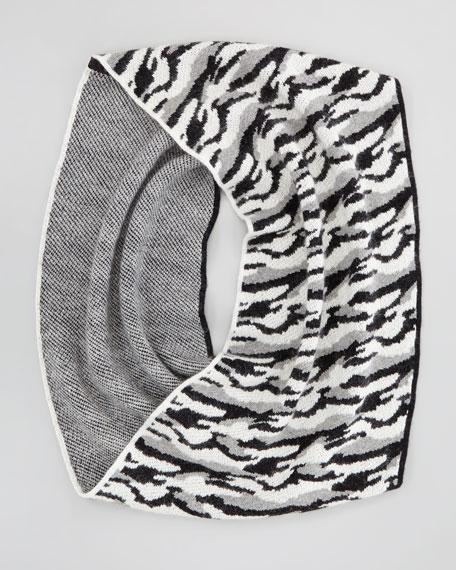 Darrene Animal Cashmere Scarf, Black/White/Gray