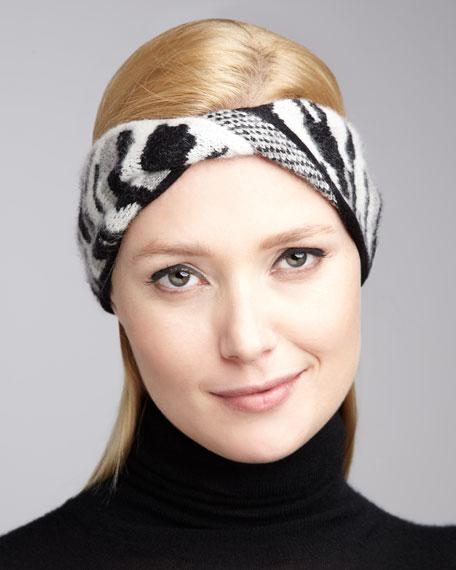 Dayla Animal-Print Head Wrap, Black/White