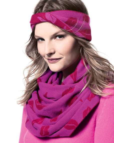 Donna Lips Infinity Scarf, Berry/Cherry