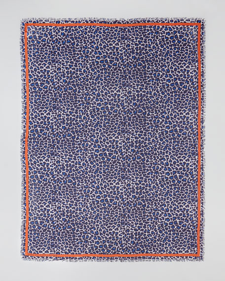 Leonora Leopard-Print Scarf, Blue/Multi