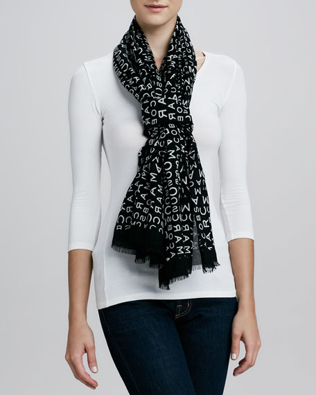 Jumbled Logo Scarf, Black/White