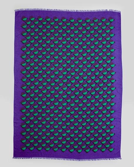 Etta Deco-Print Scarf, Jungle Green/Purple