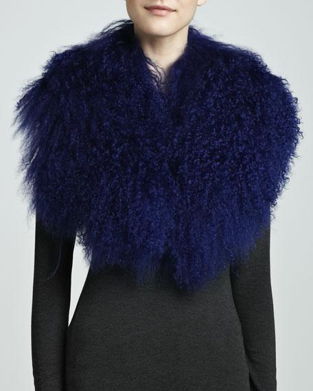 Mongolian Lamb Collar, Cobalt