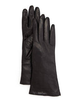 Portolano Four-Button Leather Gloves, Black