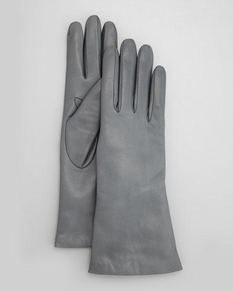 Four-Button Leather Gloves, Iron Gray
