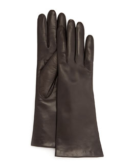 Portolano Four-Button Leather Gloves, Teak
