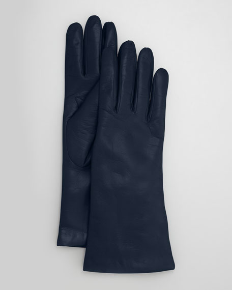 Four-Button Leather Gloves, Moroccan Blue