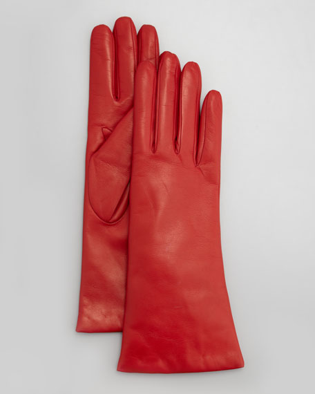 Four-Button Leather Gloves, Garnet Red