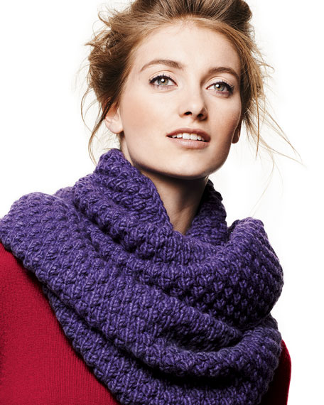 Popcorn-Knit Infinity Scarf, Iris