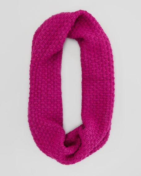 Popcorn Knit Infinity Scarf, Fuchsia