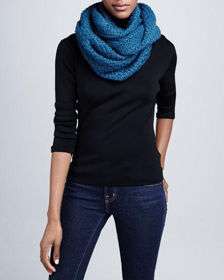 Popcorn Knit Infinity Scarf, Petrolio Blue