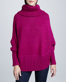 Portolano Poncho with Sleeves, Fuchsia