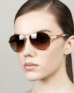 Tory Burch Striped-Arm Aviator Sunglasses, Golden