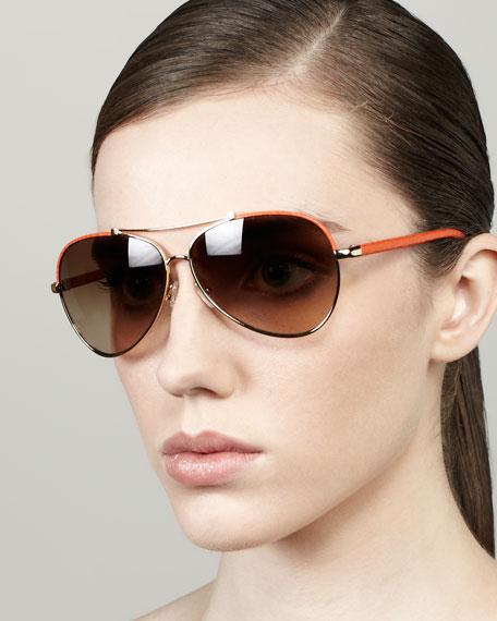 Leather Aviator Sunglasses, Golden/Orange
