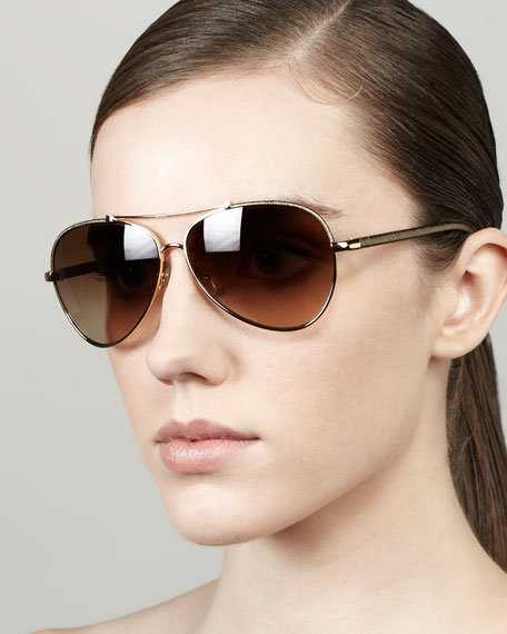 Leather Aviator Sunglasses, Golden/Bronze