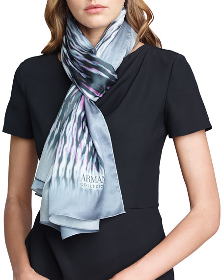 Abstract Wave Silk Stole, Blue