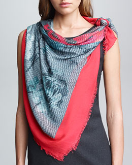 Giorgio Armani Floral Chevron Square Scarf, Red/Blue