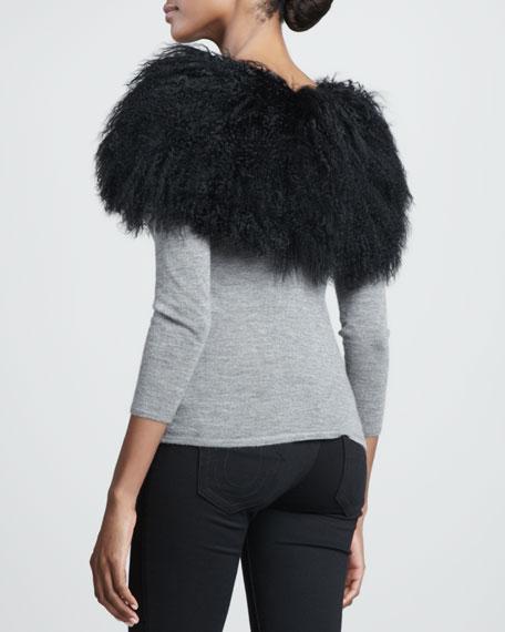 Mongolian Lamb Fur Collar, Black