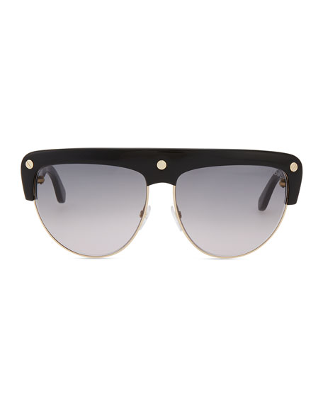 Liane Large Square Sunglasses, Black