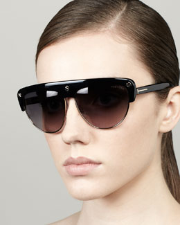 Tom Ford Liane Large Square Sunglasses, Black