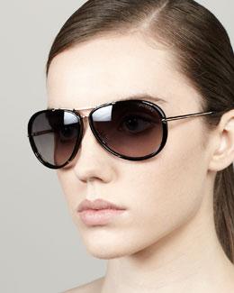 Tom Ford Cyrille Aviator Sunglasses, Rose Golden/Black