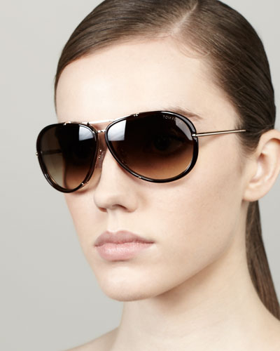 Tom Ford Cyrille Aviator Sunglasses, Dark Havana/Rose Golden
