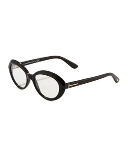Tom Ford Oval Cat-Eye Fashion Glasses, Shiny Black