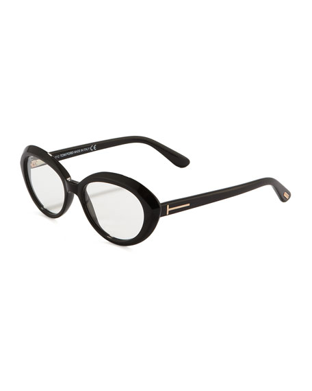 Oval Cat-Eye Fashion Glasses, Shiny Black