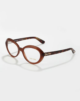Tom Ford Oval Cat-Eye Fashion Glasses, Opal/Brown