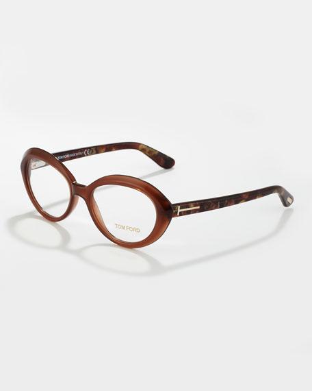 Oval Cat-Eye Fashion Glasses, Opal/Brown