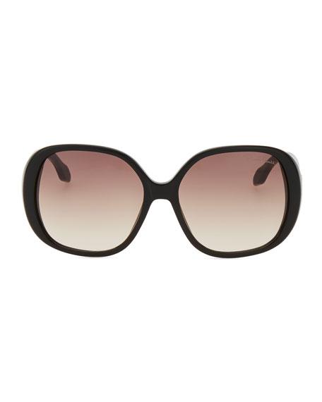 Taj Soft Square Sunglasses, Black/Leopard