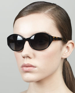 Oliver Peoples Addie Oval Butterfly Sunglasses, Black/Tortoise