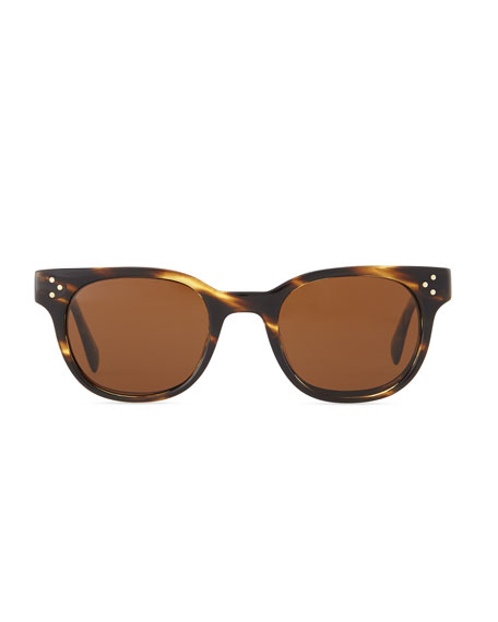 Afton Round Pin-Temple Polarized Sunglasses, Cocobolo