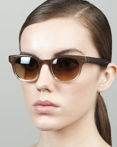 Oliver Peoples Afton Round Stud-Temple Sunglasses, Taupe
