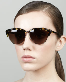 Oliver Peoples Alisha Half-Cat-Eye Sunglasses, Brown